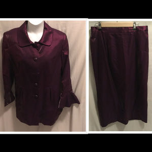 Sz 16 Proverbs Jacket & Skirt Set Metallic Purple